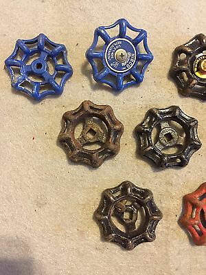 Lot Of 9 Vintage Heavy Metal Water Faucet Handles Knobs Valves Steampunk Lot #44 3