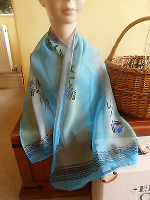 1 NEW Colourful Mixed Fibre Ladies Scarf SHADES OF BLUE ~ Gift Idea #36 5