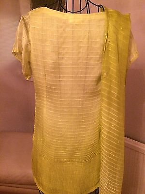 Brand New Ladies Lime Green Designer Indian Shalwar Kameez By SHEETAL Size Small 6