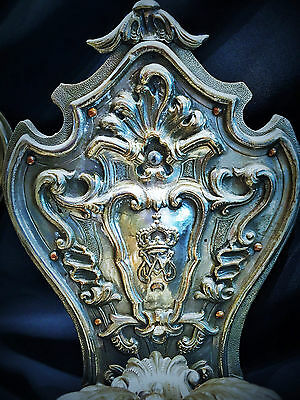 Unique! A Pair of XIX C. Heraldic Silver Wall Sconces of Amadeo I, King of Spain 3