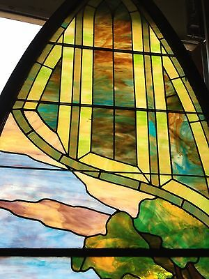 Antique Stained Glass 11 Foot Good Shepherd Window 7