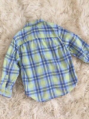 Toddler Boy Baby Gap Plaid Check Print Blue Green Button Down Shirt New 2Y 8