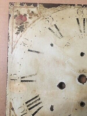 Antique Hand Painted Flower Decorated Iron Grandfather Clock Dial C. 1800's 7