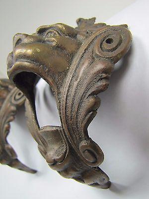 Antique Pair Bronze Monster Beast Lion Head Decorative Architectural Hardware 2 8