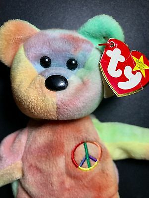 ... Rare Ty Beanie Baby Peace Bear Original Collectible with Tag Errors 3 1ab5b29ca126