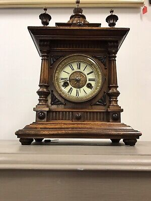 Victorian Black Forest Golden Oak 14 Day Mantle Clock By H.a.c. Working. 2