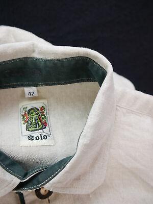 Gr.L Trachtenhemd Solo Leinen beige mit grünem Streifen Trachten Hemd TH1636 3