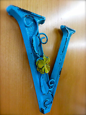 "BLUE CAST IRON WALL LETTER ""V"" 6.5"" TALL rustic vintage decor sign child nursery 2"