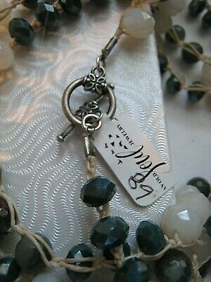 Old Soul Jewelry  Necklace Long  Earthy Agate, Jasper Cream Teal Crystal  NWOT 4