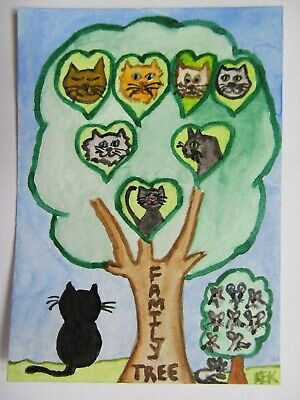 ACEO Original Watercolor Cat Kitty Feline Mouse Kitty's Family Tree No 72 by KEK 2