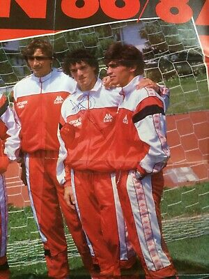 Autografo originale ROBERTO DONADONI-AC Milan 86/87 su Poster 80x53cm-IN PERSON! 3