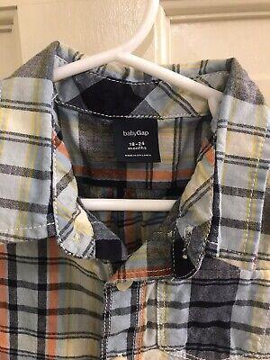 EUC Baby GAP Boys S/S Blue/Navy/Orange Button Den Shirt, Size 18-24M 3