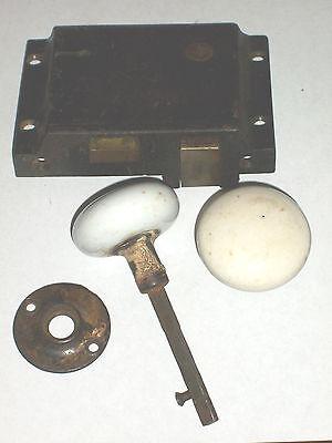Antique SLAYMAKER cast iron lock porcelain Doorknobs with escutcheon 3