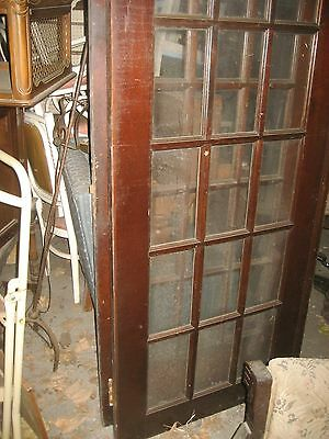 Antique Vintage French Glass Double Doors Solid Oak 15 Panels Pair Set  100+ Yr 3