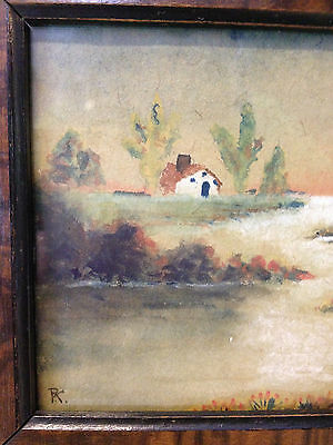 Antique Early 20th Century Signed / Monogrammed Watercolor Landscape Painting 3