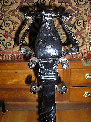 Monumental Pair of Antique Arts And Crafts Wrought Iron Andirons 9