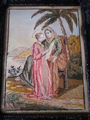 Antico Quadro 32,5x26 MEZZO PUNTO cornice in legno vintage motivo religioso 4