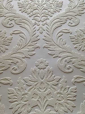 2 Of 6 Anaglypta High Trad Damask White Paintable Wallpaper   Highly  Embossed   10m