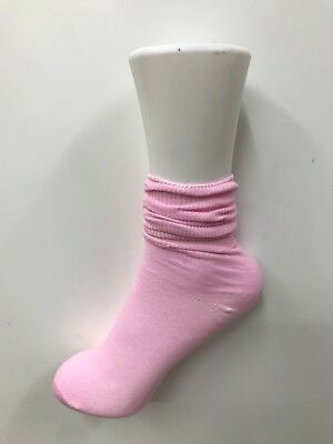 4 x Girls Plain Colour  short slouch socks  soft Cotton ,pink purple blue yellow 2