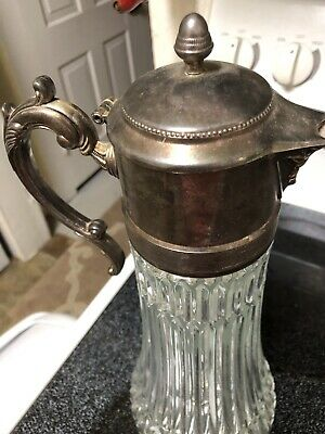 Vintage Tall Glass & Silverplate Iced Beverage Serving Carafe Pitcher 2