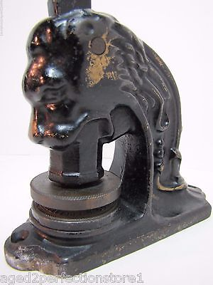 Antique Cast Iron Lion Head Figural Embosser Stamper Eureka Hall Asn Olyphant Pa
