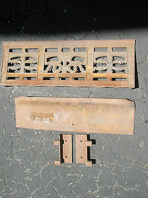 Antique Ornate Raised Relief Brass Gold Tone Metal Fireplace Surround Grate 10