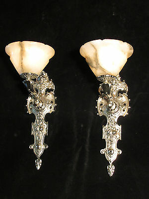wall lights pair silver plate SOLID BRONZE & REAL ALABASTER INDUSTRIAL LIGHTS 6