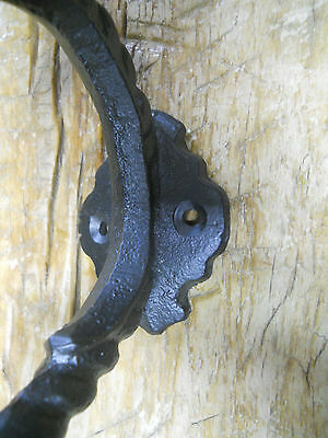 6 Cast Iron BLACK ROPE Style Coat Hooks Hat Hook Rack Hall Tree Restoration