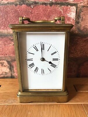 Antique French 1910 Brass & Glass Bevelled Travelling Carriage Mantle Clock 2