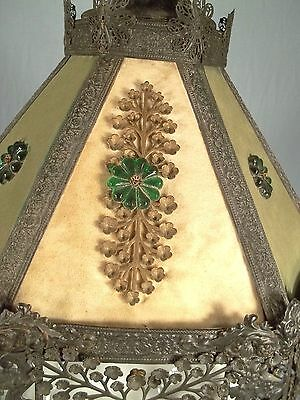 A WONDERFUL EARLY 20th CENTURY 6 SIDED PIERCED TIN FLORAL DECORATED CHANDELIER 4