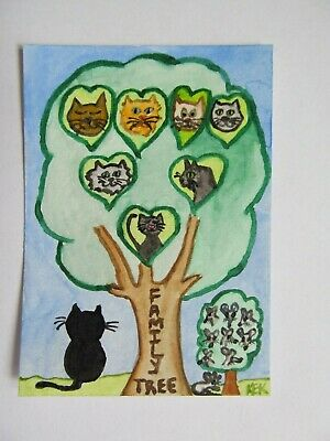 ACEO Original Watercolor Cat Kitty Feline Mouse Kitty's Family Tree No 72 by KEK 3