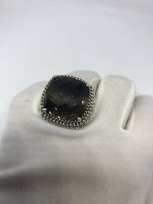 Vintage Genuine Brown Smoky Topaz Matte 925 Sterling Silver Deco Size 7 Ring 5