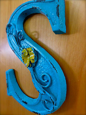 "BLUE CAST IRON WALL LETTER ""S"" 6.5"" TALL rustic vintage decor sign child nursery 3"