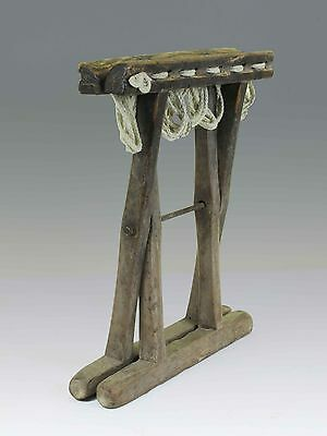 A Chinese Antique Wood Rope Folding stool 10.6'' H light wood tone ancient chair 5
