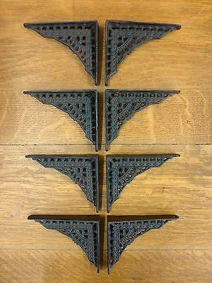 "8 SMALL BROWN ANTIQUE-STYLE 5"" CAST IRON SHELF BRACKETS garden rustic EASTLAKE 2"