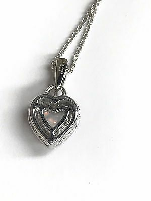 JWBR 925 Sterling Silver Love Heart Pendant Necklace Opal /& .07 pt Diamonds