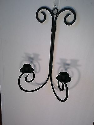 Decorative Wrought Iron Black Dual Candleholder Hanging Wall Sconce Set of Two 4