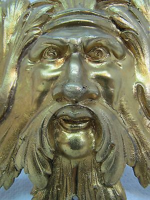 Exquisite 19c Antique Brass Figural Face Ornate High Relief Scary Architectural 12