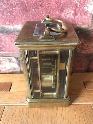 Antique French 1910 Brass & Glass Bevelled Travelling Carriage Mantle Clock 6