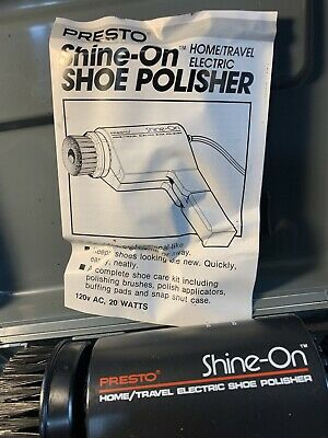 Presto Shine-On Home/Travel Electric Shoe Polisher Vintage Rare 6