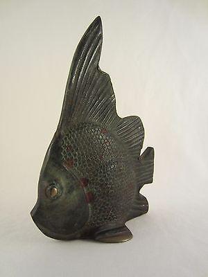 Skulptur Figur Bronze teilpoliert durchbrochen Fisch