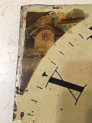Antique Grandfather Clock Dial Hand Painted Cabin Decoration 1800's 5