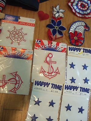 lot yds vintage nautical patriotic trim ribbon patches embroidered star anchor + 7