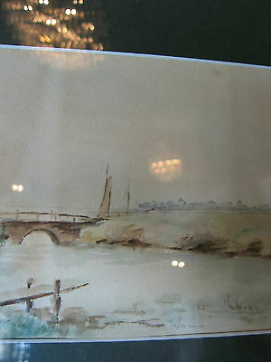 Vintage Antique Early to Mid 20th Cent. Eva West Signed Watercolor of Landscape 4