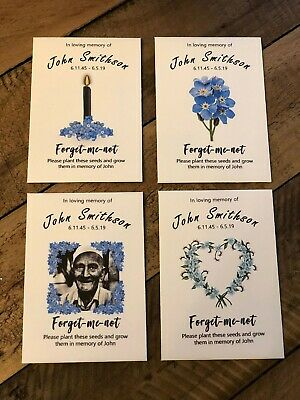 Funeral Seed Packets Favours personalised including forget me not seeds 10 packs 3