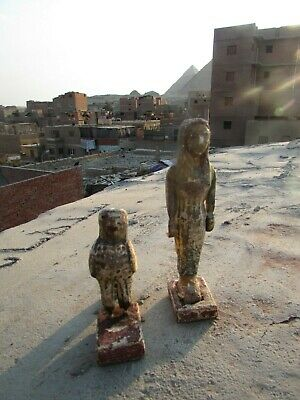 Antique Pharaonic Statues Made Of Wood, Horse And Nefertiti, Rare Made In Egypt 9