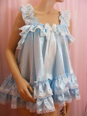 ADULT baby sissy blue satin babydoll negligee nightie dress fancydress unisex 2