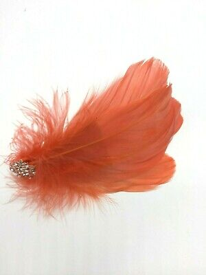 Asst Colour Silver Gem Feather Fascinator Diamante Hair Clip Vintage Style 2