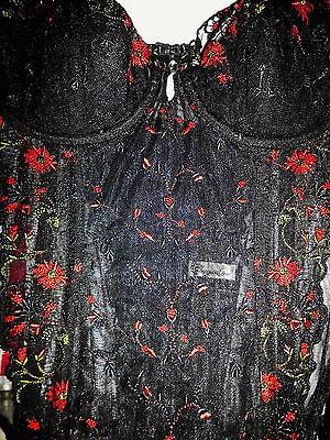 Korsage 70 C aufwendige Blumenstrickerei,geformte Körbchen, Farbe, schwarz 3