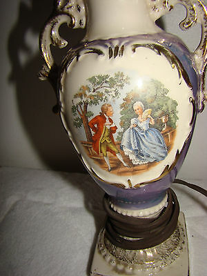 Vintage Antique SMALL Hand Painted LAMP 3
